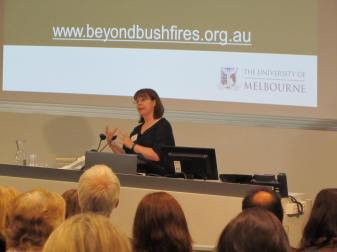 Associate Professor Lou Harms presenting at the Beyond Bushfires Symposium October 2014.