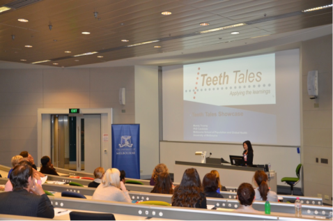 Mandy Truong presenting at the Teeth Tales Showcase October 2014